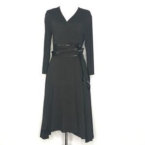 Chetta B Black Faux Wrap Dress A160614